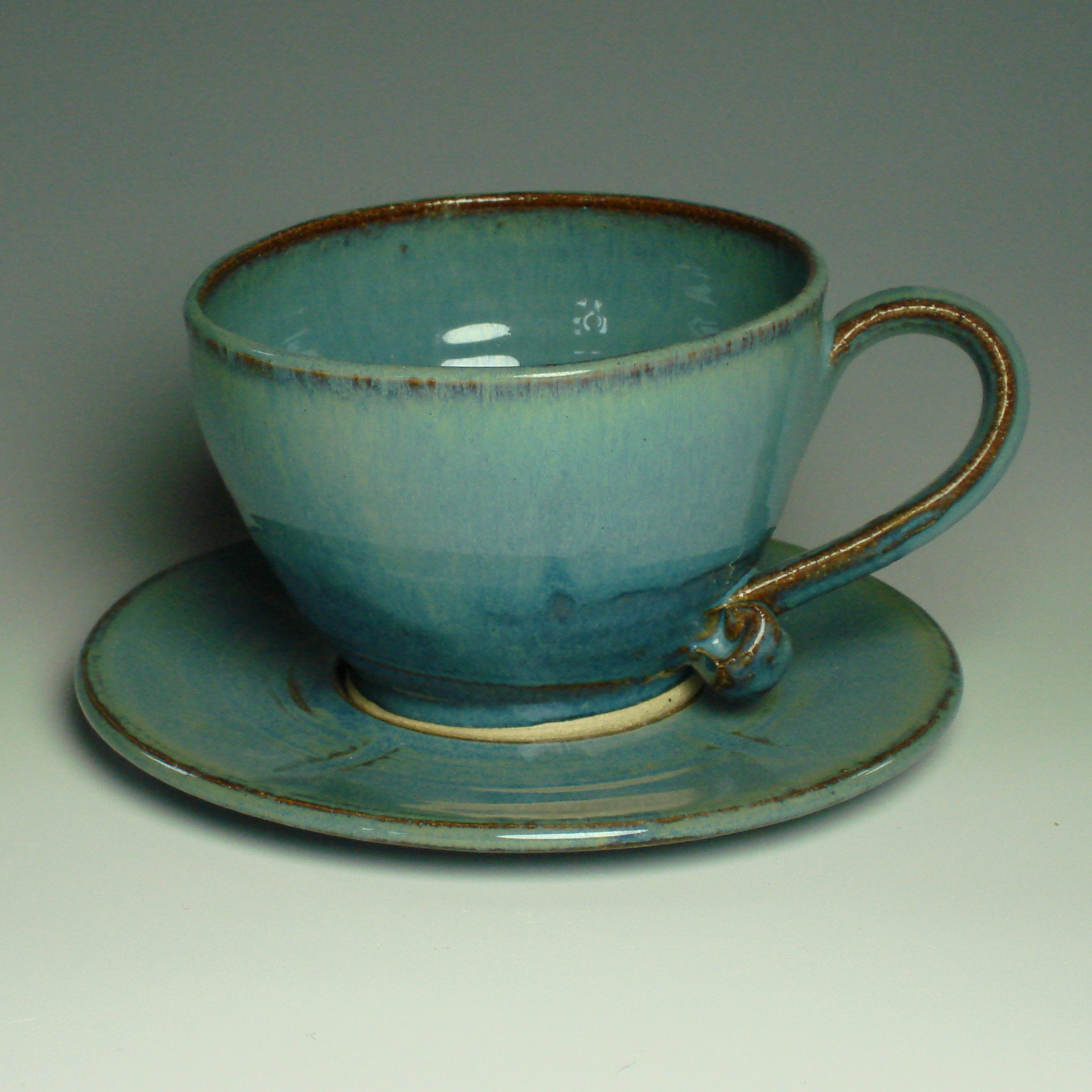 Cappucino Cup and Saucer - Summer blue