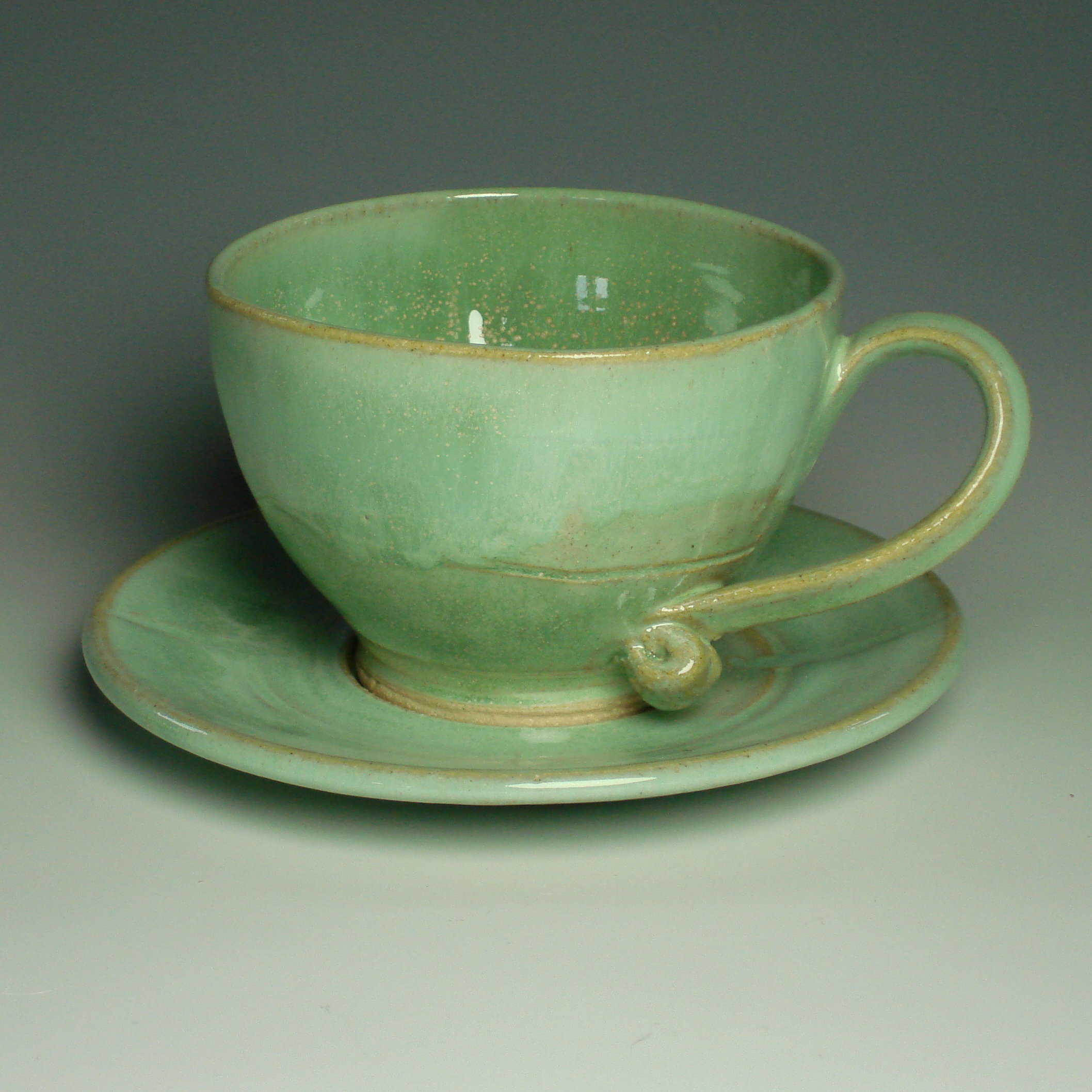 Cappucino Cup and Saucer - Spring green