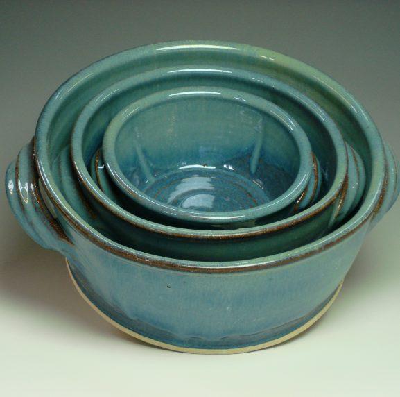3 Serving Dishes Set Blue