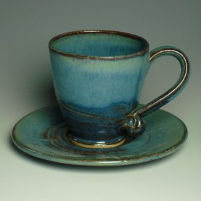 Tea cup and saucer - Summer blue