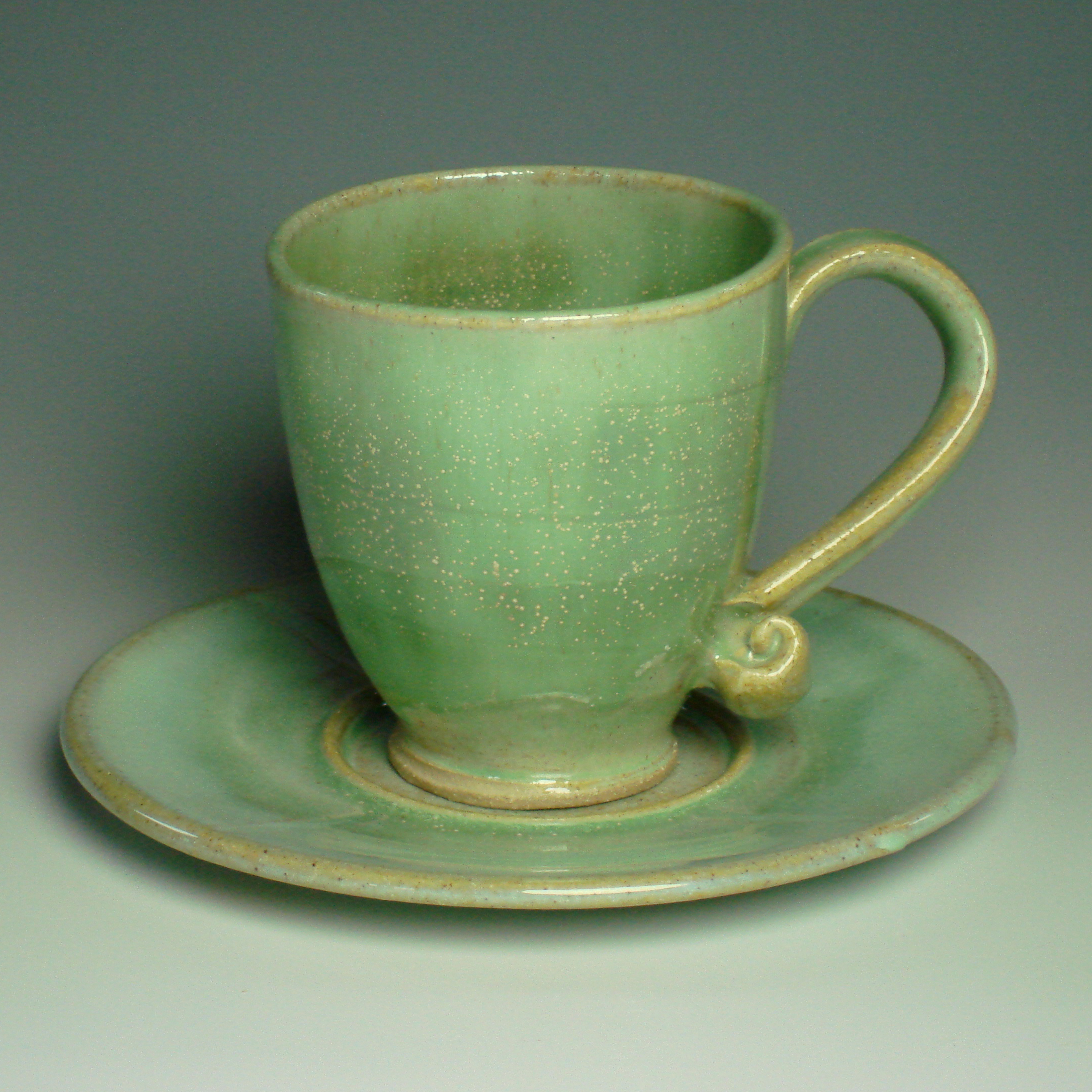 Tea cup and saucer - Spring green