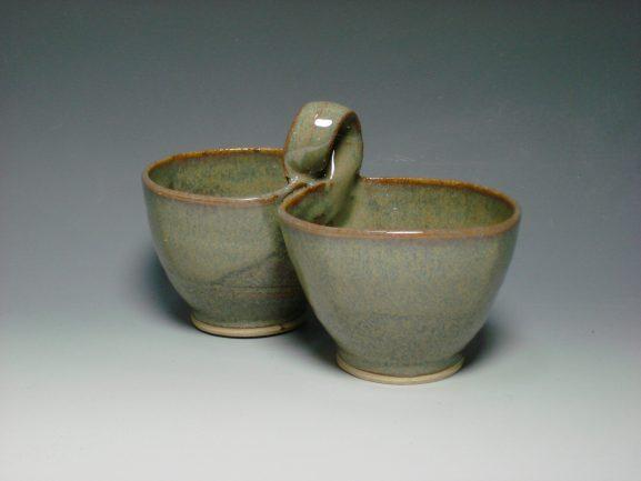 Ceramic double dip dish autumn