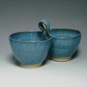 Ceramic double dip dish blue