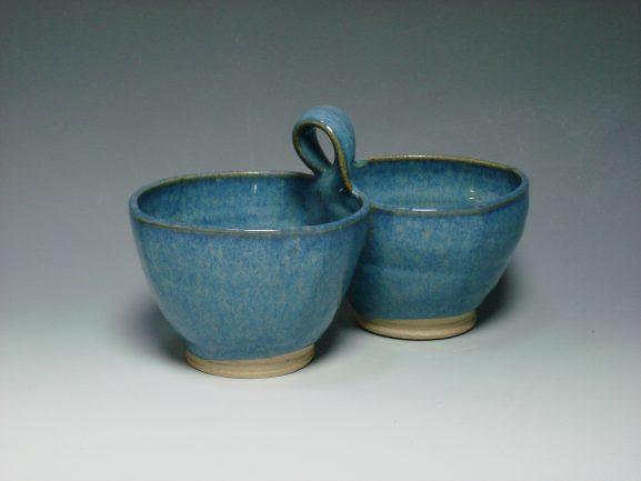 Ceramic double dip dish blue