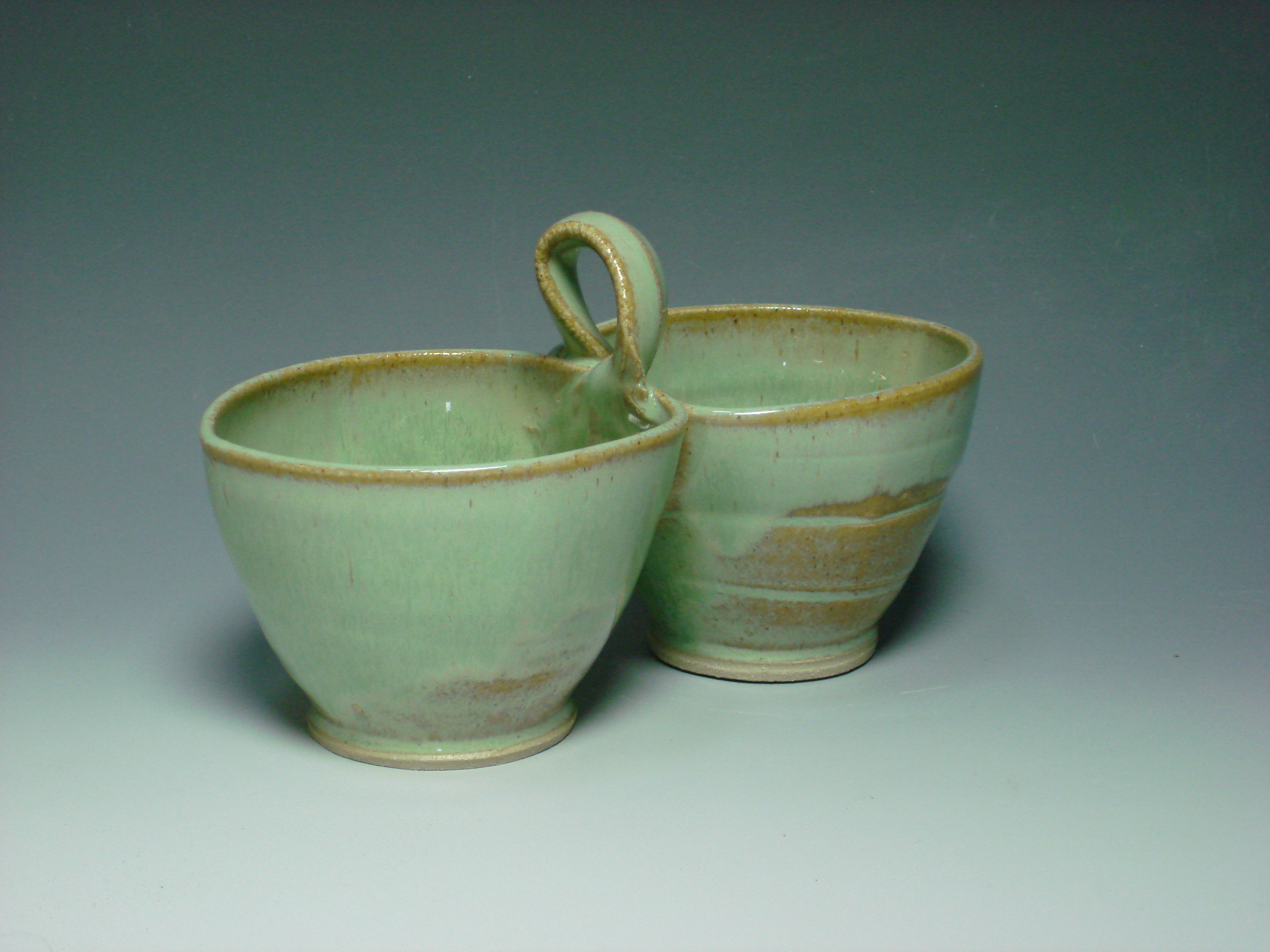 Ceramic double dip dish green