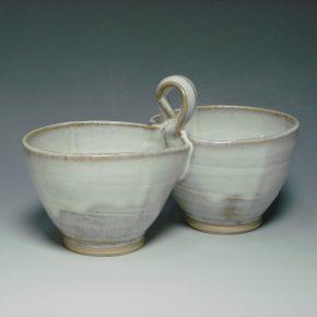 Ceramic double dip dish white