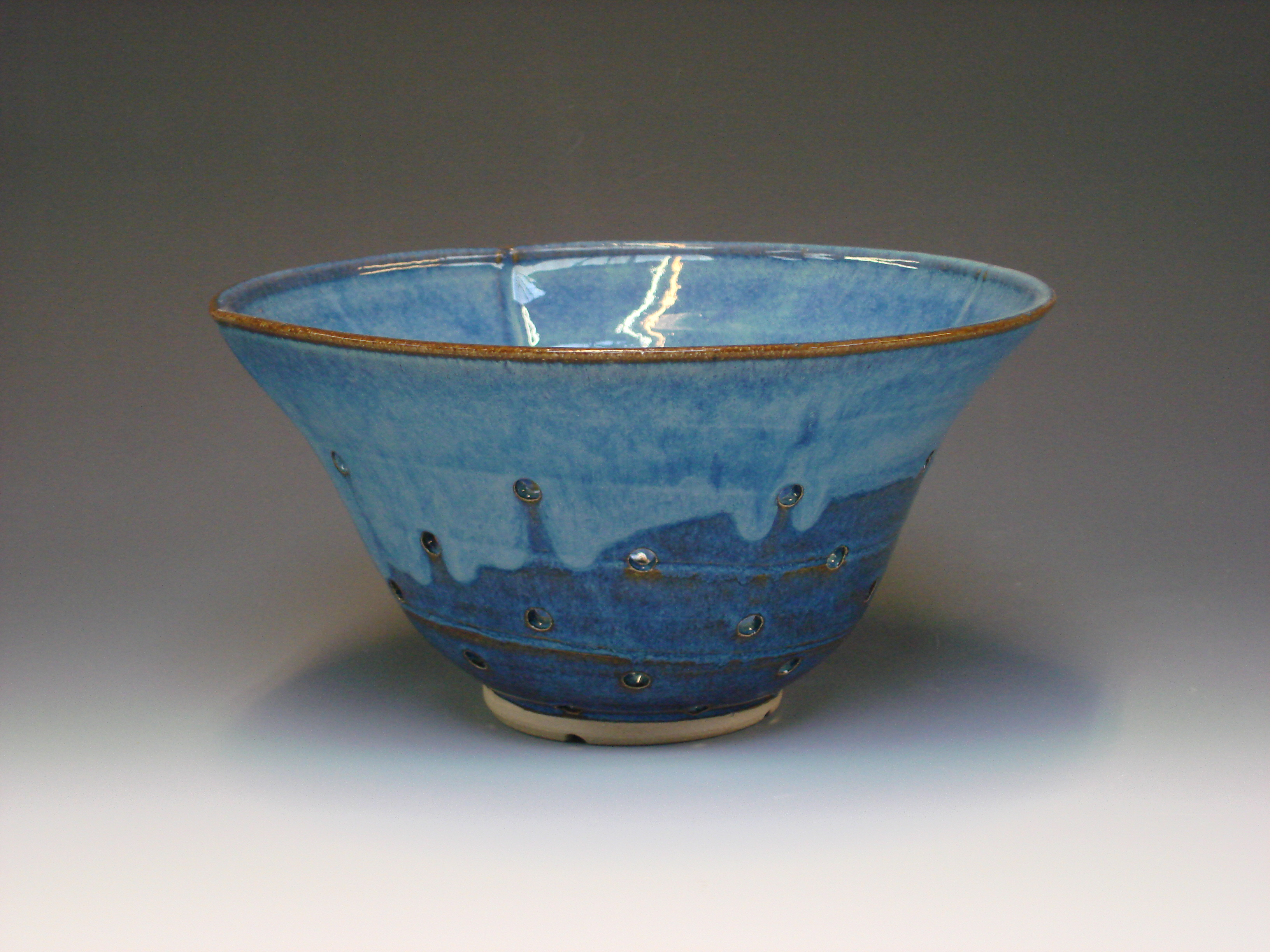 Ceramic colander - colour blue