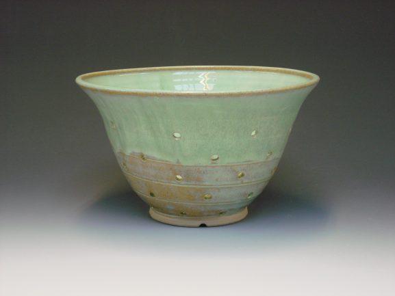 Ceramic colander - colour green