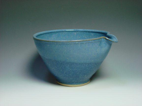 Blue ceramic mixing bowl
