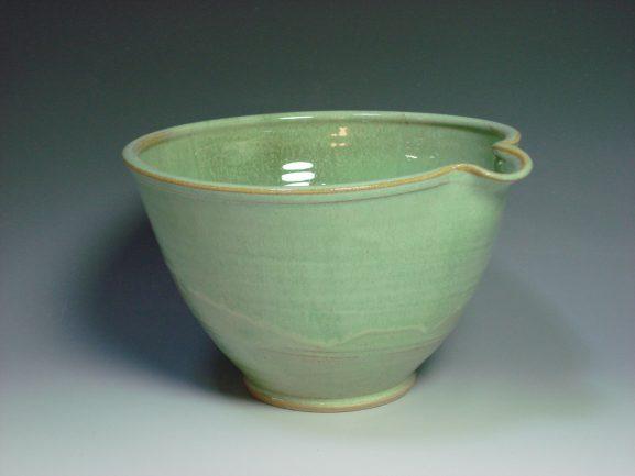 Green ceramic mixing bowl