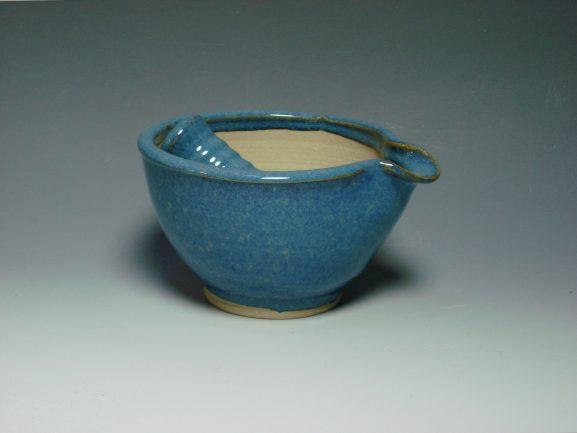 Ceramic pestal & mortar blue