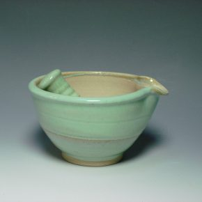 Ceramic pestal & mortar green