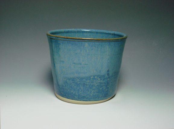 Blue ceramic plant pot