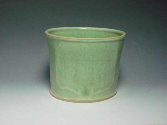 Green ceramic plant pot