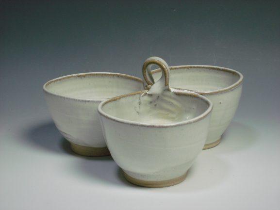 White ceramic three dipping bowl
