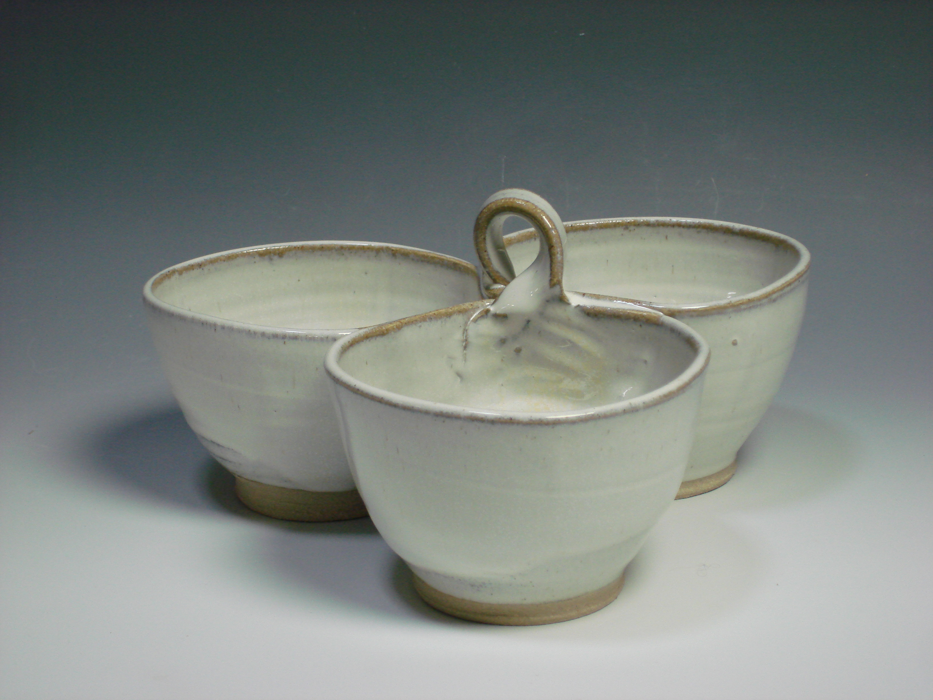 White ceramic three dipping bowl