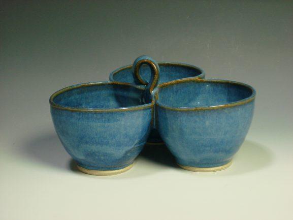 Blue ceramic three dip bowl