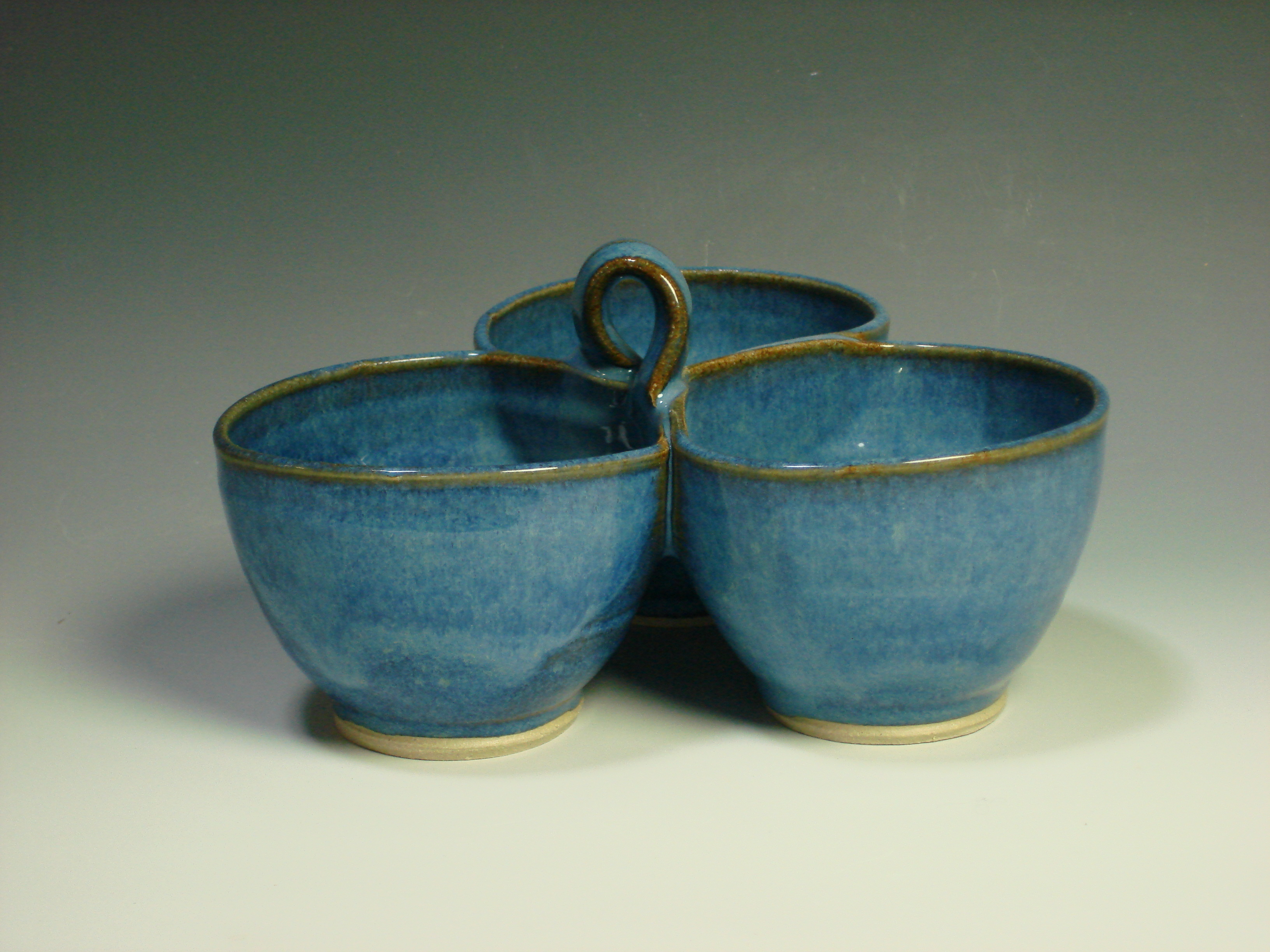 Blue ceramic three dip bowl