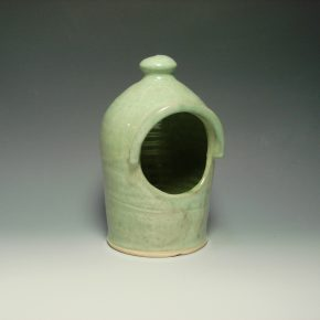 Ceramic salt pot - colour green