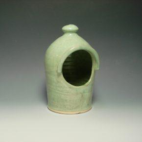 Ceramic salt pot - colour green