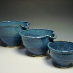 Set of three blue ceramic nestling mixing bowls